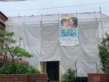 富士見市の2階建てモルタル外壁の住宅の工事